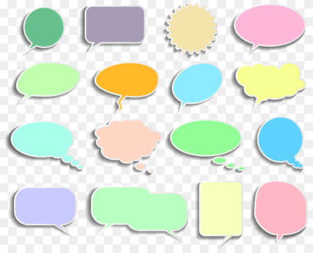set of empty speech and thought bubbles with transparent shadows vector illustration