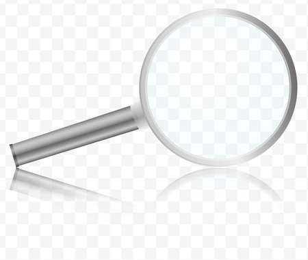 magnifying glass with reflection on transparent background vector illustration Banco de Imagens
