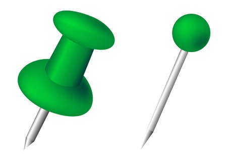 green pushpin and pin vector illustration on white background