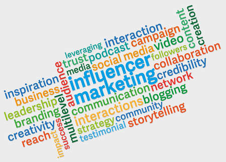 influencer marketing word cloud against light grey background Stok Fotoğraf