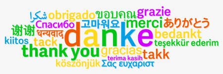 colorful thank you word cloud in different languages on light grey background