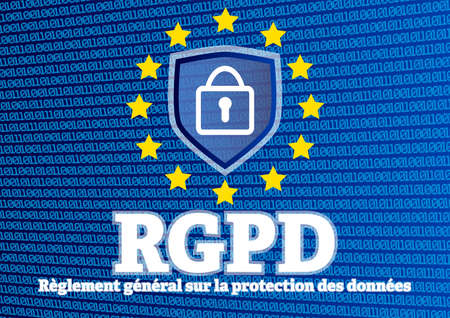 RGPD Règlement général sur la protection des données - French for GDPR European General Data Protection Regulation - illustration with shield and lock on glowing blue binary code