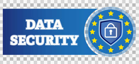 blue data security privacy shield logo with padlock on transparent background vector illustration