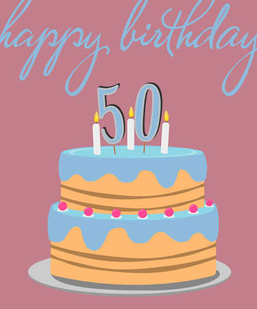 happy 50th birthday greeting card with colorful birthday cake illustration Stock Illustration - 104433101