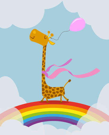 giraffe with pink balloon walking on rainbow within clouds greeting card illustration template 版權商用圖片