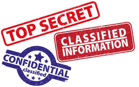 Drei Stempel streng geheime, vertrauliche und Verschlusssachen