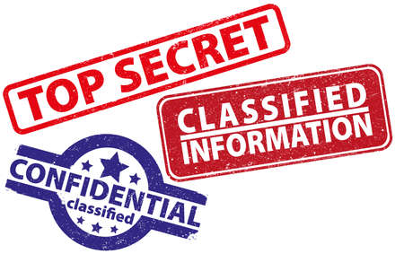 three rubber stamps top secret, confidential and classified information