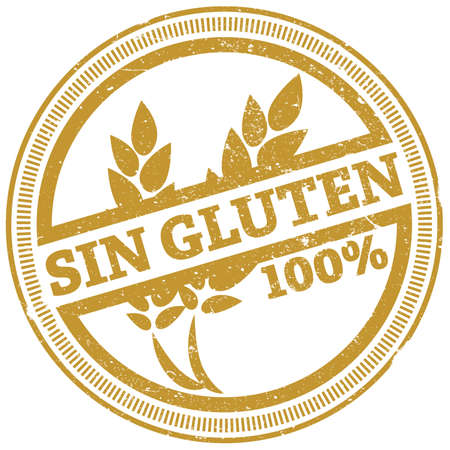 golden grunge 100 percent gluten free rubber stamp with Spanish words SIN GLUTEN vector illustration Stok Fotoğraf