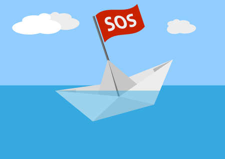 sinking paper boat on sea against blue sky vector illustration Illustration