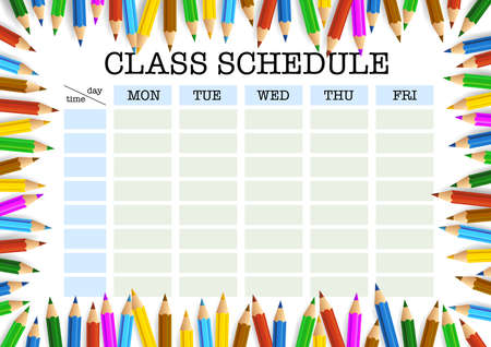 class schedule or timetable surrounded by colored pencils template vector illustration Reklamní fotografie - 105941598
