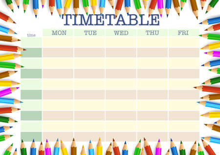 school timetable surrounded by colored pencils template vector illustration Stock fotó