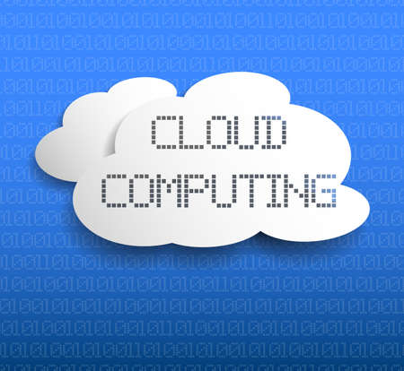 cloud storage or cloud computing concept with white cloud shapes and binary code on blue background vector illustration