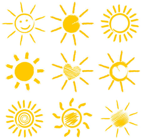 set of orange sun icons vector illustration Illustration