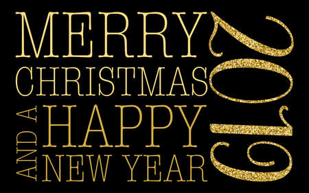 merry christmas and new year 2019 gold giltter vector illustration on black background greeting card concept