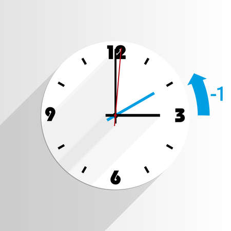 wall clock illustrating end of daylight saving time DST in fall concept vector illustration