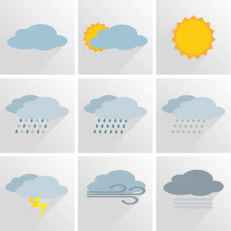 simple weather icon symbol set vector illustration Stock Illustratie