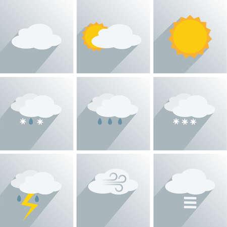 simple weather icon symbol set vector illustration Çizim