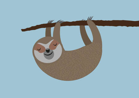 cute sleepy sloth hanging on tree branch vector illustration Stock Photo