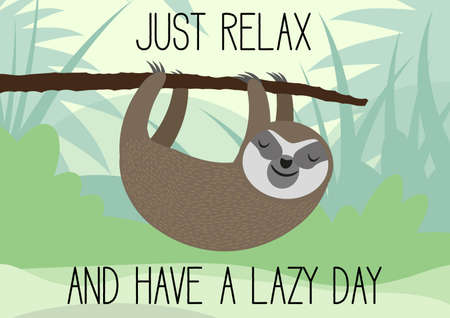 cute sleepy sloth hanging on tree branch lazy day greeting card vector illustration