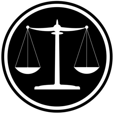 classic black and white scales of justice icon legal system concept vector illustration