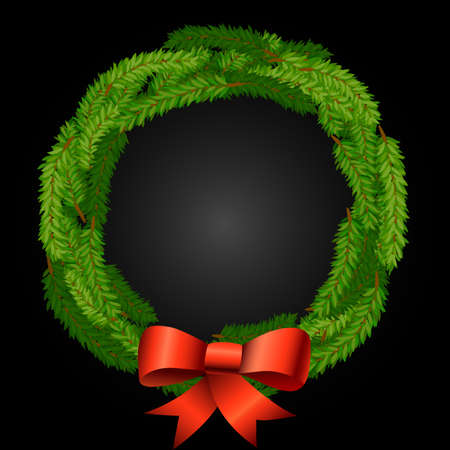 christmas wreath background with fir or pine branches and red bow of ribbons vector illustration Stock Illustratie
