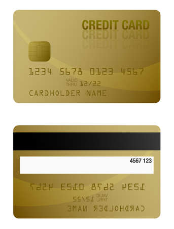 front and back of gold colored credit card template vector illustration Stock Photo
