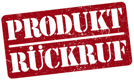 red rubber stamp with word PRODUKTRÃœCKRUF, product recall in German, isolated on white background