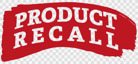 words PRODUCT RECALL on red paint stroke vector illustration