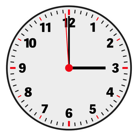 clock face vector illustration showing 3 oclock on white background