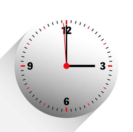 clock vector illustration showing 3 o'clock on white background