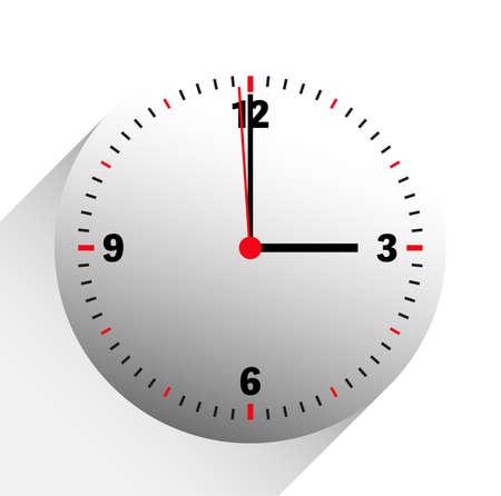 illustrazione vettoriale dell'orologio che mostra le 3 in punto su sfondo bianco Vettoriali