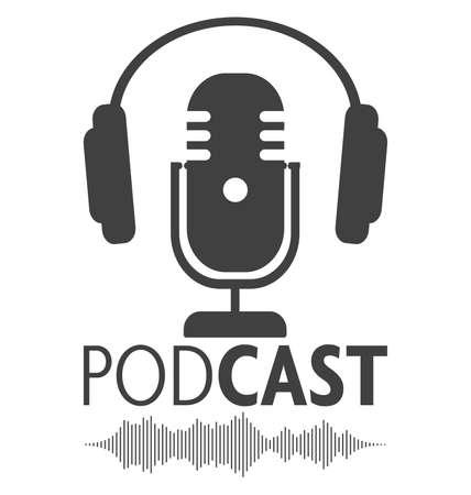 símbolo de podcasting con micrófono, auriculares y forma de onda de audio