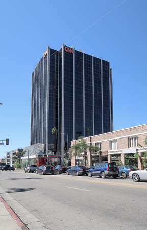 low angle view of CNN office building on Sunset Boulevard in Hollywood against blue sky Redakční