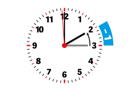 end of daylight saving time adjust clock backward in fall vector illustration on white background