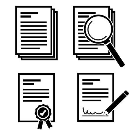 simple document and search document with magnifying glass icon set vector illustration Иллюстрация