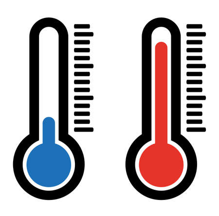 simple flat hot and cold temperature air thermometer icon Illustration