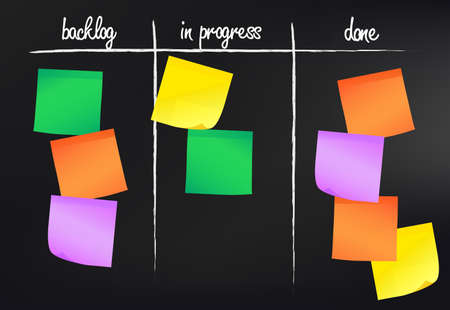 simple kanban board with sticky notes on blackboard agile working concept vector illustration