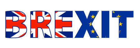 word BREXIT with Union Jack UK flag and European Union flag vector illustration