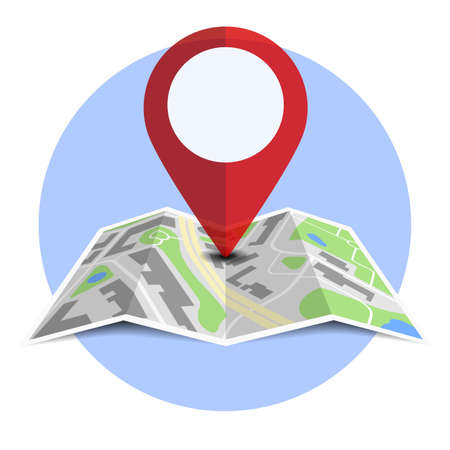 round badge with generic folded map with location pin and shadow vector illustration Ilustração