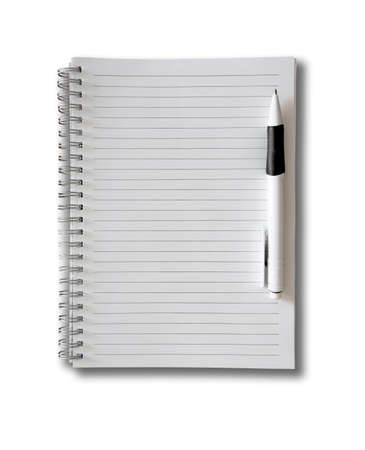spiral-bound ruled paper notepad with ballpoint pen isolated on white Archivio Fotografico