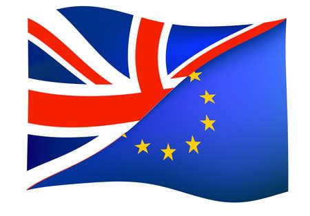 brexit concept with union jack united kingdom flag and european union flag vector illustration Иллюстрация