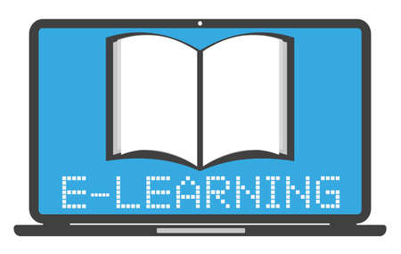 e-learning online education symbol with laptop computer and book vector illustration
