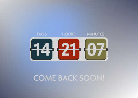 filp countdown timer with days, hours, minutes template vector illustration