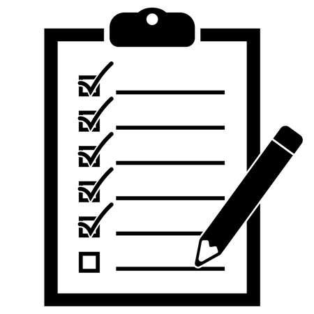 semplice lista di controllo piatta in bianco e nero sull'illustrazione vettoriale dell'icona degli appunti Vettoriali