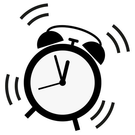 simple flat ringing classic alarm clock icon vector illustration