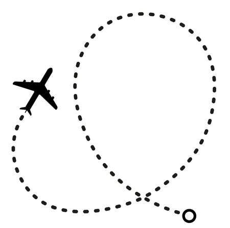simple flat black and white air travel flight path icon vector illustration