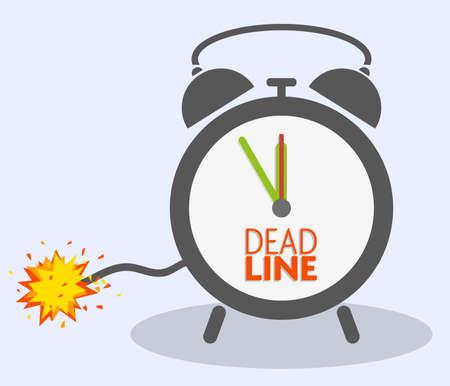 Concepto de fecha límite con fusible explosivo en la ilustración de vector de reloj despertador clásico Ilustración de vector