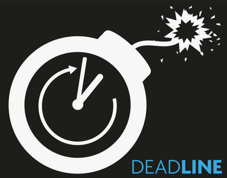 deadline concept icon with clock and blazing fuse vector illustration