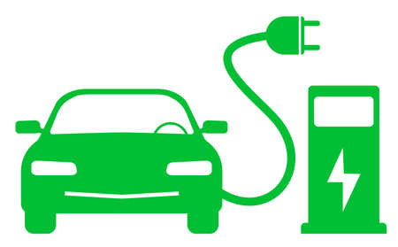 green electric car and charging station symbol vector illustration