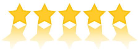 valutazione a cinque stelle, cinque stelle dorate con riflesso su sfondo bianco illustrazione vettoriale Vettoriali